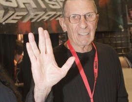 Vulcan salutation offered by Leonard Nimoy as he channels Spock