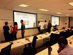 Phillips 66 engineers work out problems as part of TSOD.com Team Building training in Houston